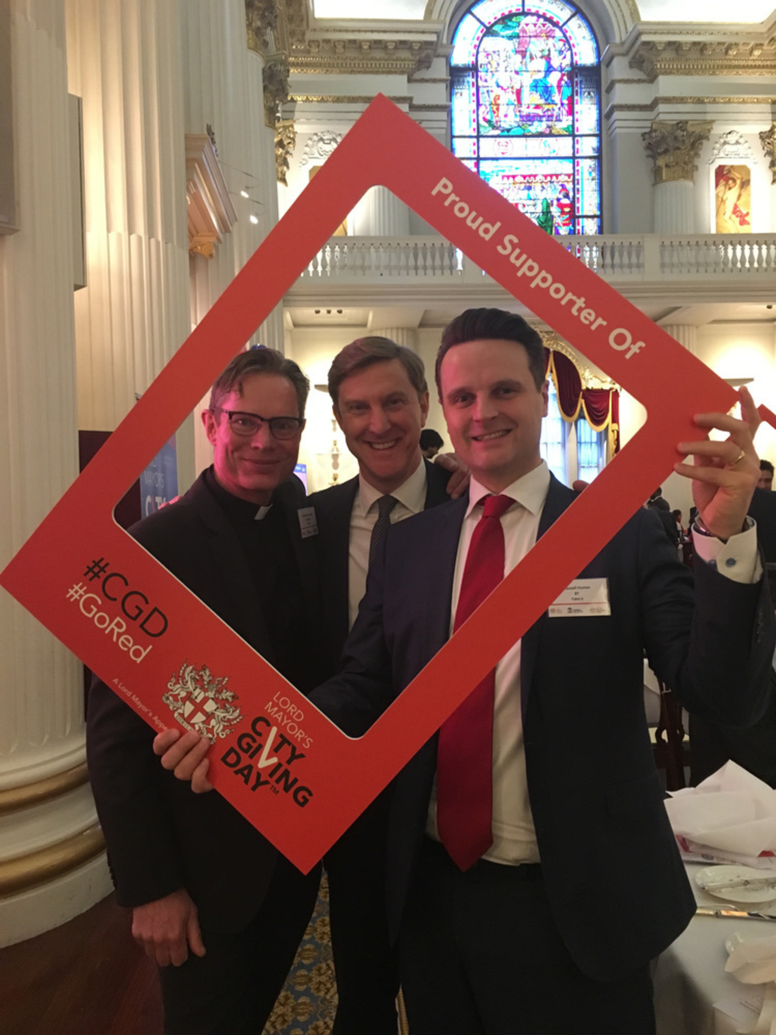 Robert at Mansion House for the launch of City Giving Day with Rev Kennedy of St Vedast and Russell Hunter of BT
